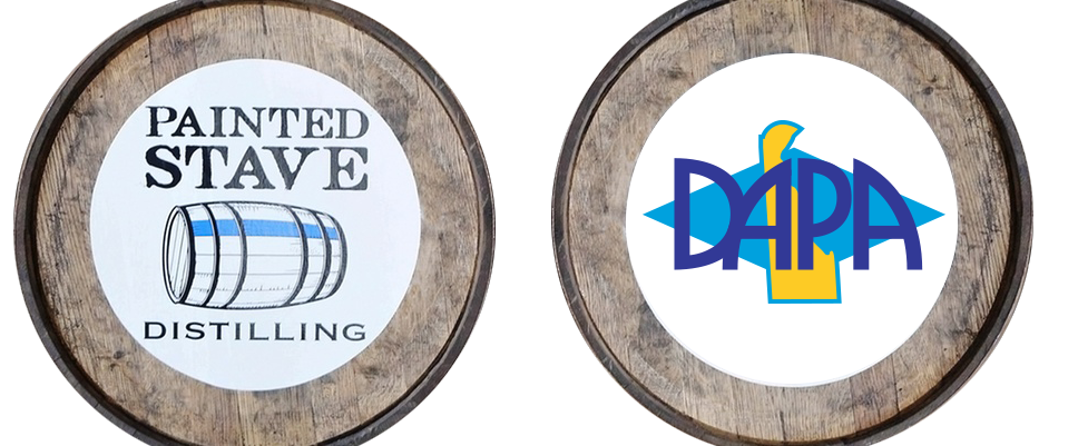 Barrels with Painted Stave and DAPA logos on them