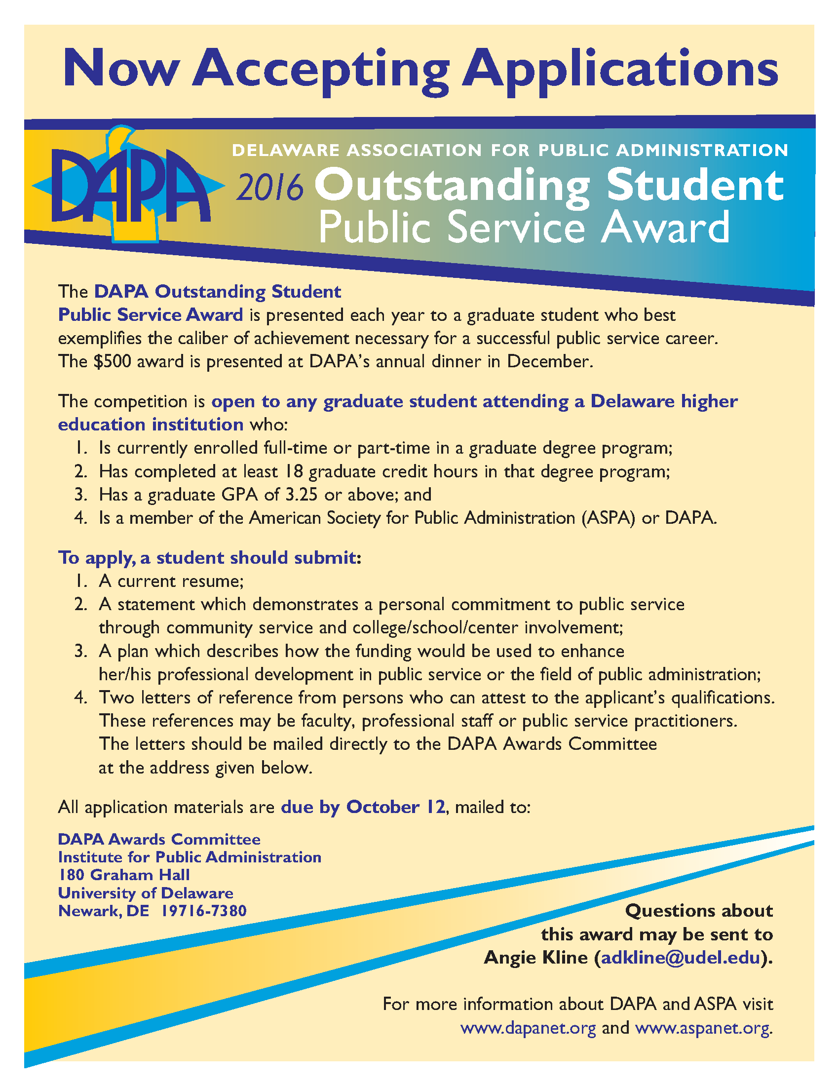 Additional information about the student public service award