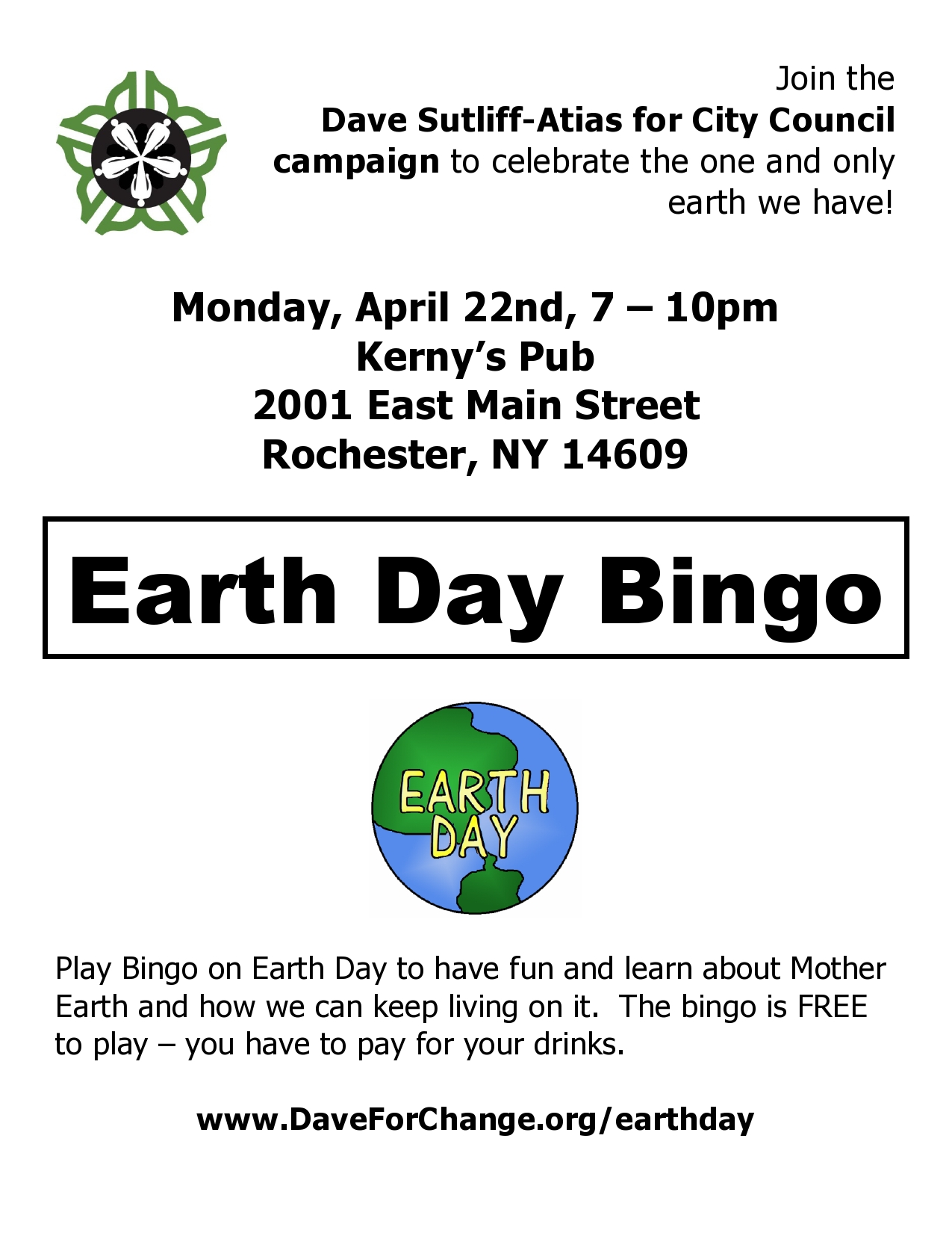 Flyer for Earth Day Bingo on April 22nd