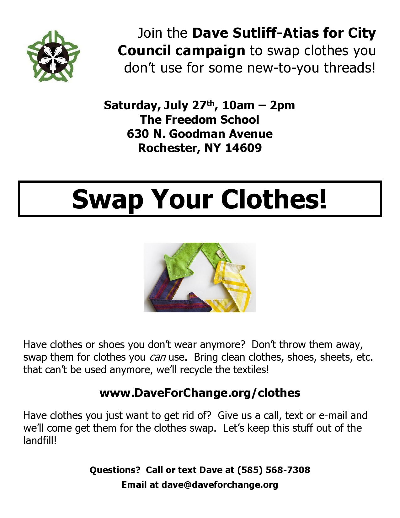 A flyer for Dave's Clothing Swap