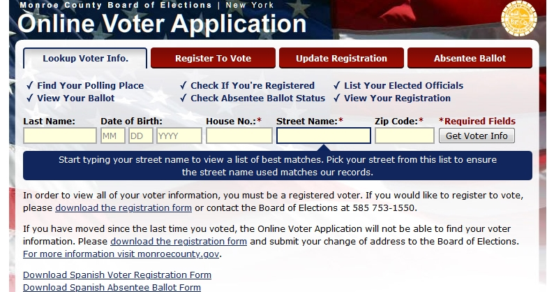 A screen cap of Monroe County's online site to look up your polling place