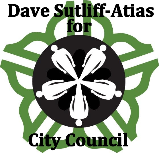 Campaign logo with Dave Sutliff-Atias for City Council on it