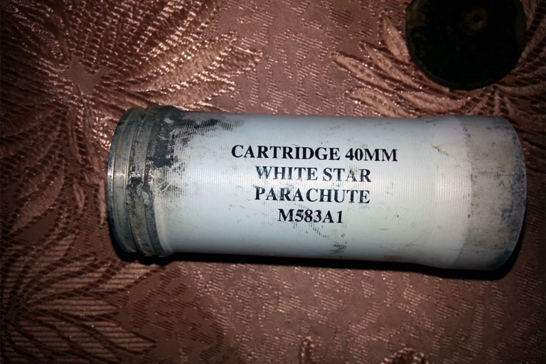 The canister of the M583A1 cartridge fired by Israeli forces that struck and killed Abdel-Rahman al-Dabbagh. (Photo: DCIP)