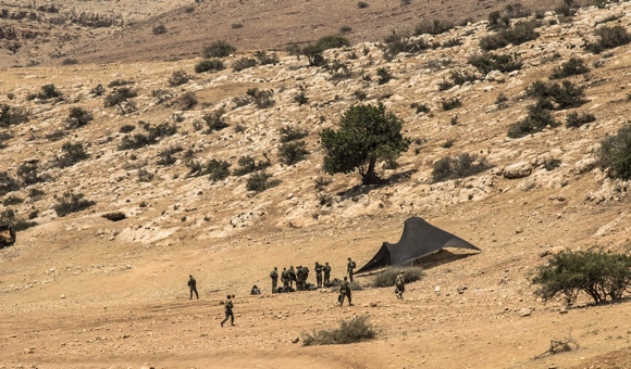 Israeli forces participate in a training exercise in a closed Israeli military zone in the Jordan Valley. (Photo: DCIP / Cody O'Rourke)