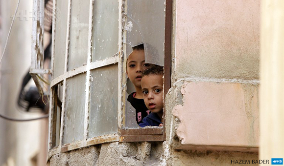 Palestinian children in al-Fawwar refugee camp,August 16, 2016