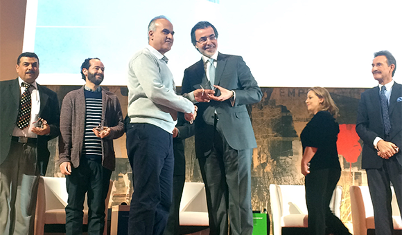 Khaled Quzmar, general director of DCIP, accepts the 2016 Stars Impact Award at the Philanthropreneurship Forum in Vienna, Austria, on January 16, 2017.