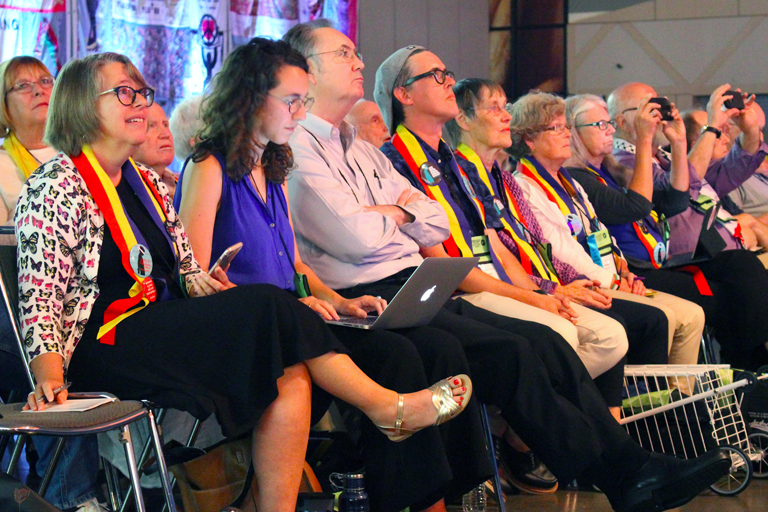 Advocates in favor of a resolution in support of Palestinian children await voting results at the 31st General Synod of the UCC in Baltimore on July 2, 2017. (Photo: FOSNA)