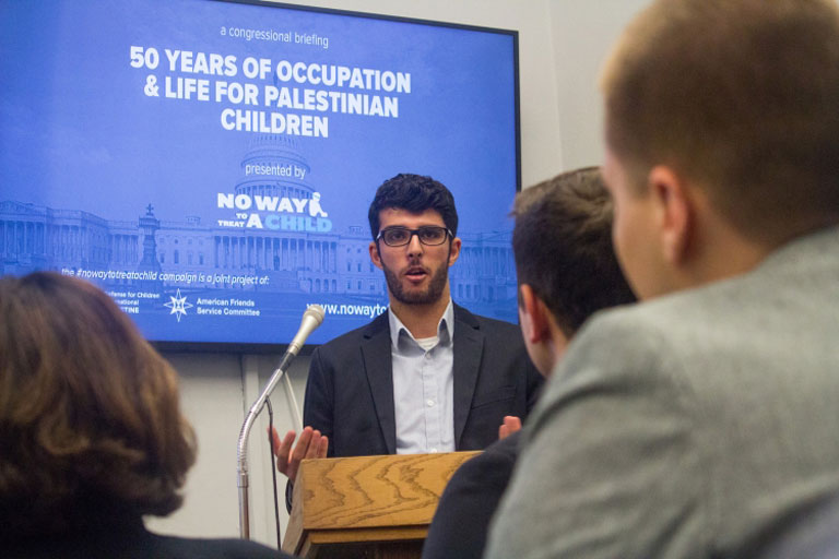 At a packed Congressional briefing in June, Yazan Meqbil shared how Palestinian child detention has affected his life and those of his family members and friends in the West Bank. (AFSC / Carl Roose)