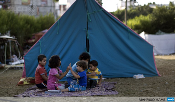 Displaced Palestinian children play at Al-Shifa hospital in Gaza City where they have taken refuge on July 31.