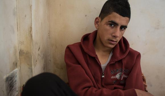Abdelrazzeq Abu Sel, 16, from Aroub refugee camp was hit in the head by a tear gas canister four months ago. (DCIP / Dylan Collins)