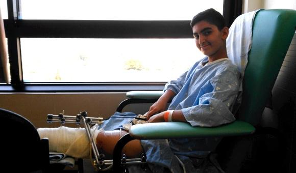 Mahmoud Qaddumi, 13, was shot in each leg by an Israeli paramilitary border police officer on July 23, 2017