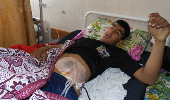 Mahmoud Obeid was critically injured on January 19, 2018. (Photo: DCIP /  Mohammad Abu Rukbeh )