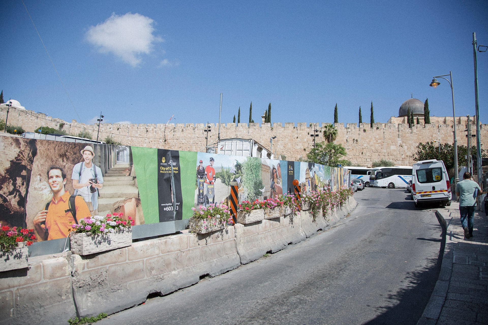 "Posters advertise segway tours and other ""City of David"" attractions outside the walls of Jerusalem's Old City. (Photo: Faiz Abu Rmeleh)"