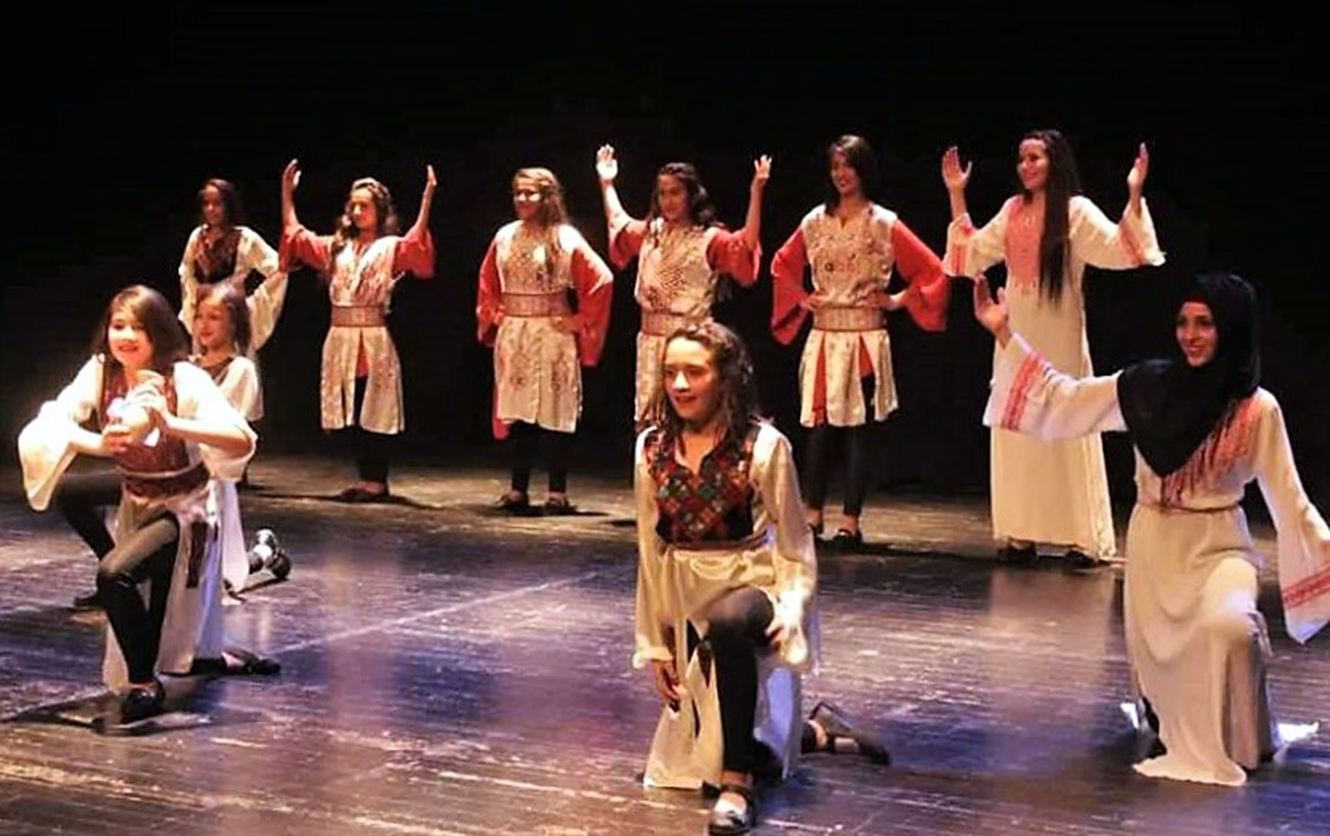 A youth dabka troupe performs on Al-Hakawati's main stage in East Jerusalem. (Photo: courtesy of Al-Hakawati theater)