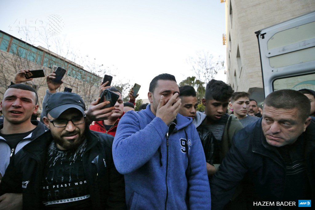 Relatives mourn the death of Mohammed Al-Haddad, 16, who was killed by Israeli forces during clashes in occupied West Bank city of Hebron on February 5, 2020. (Photo: AFP / Hazem Bader)