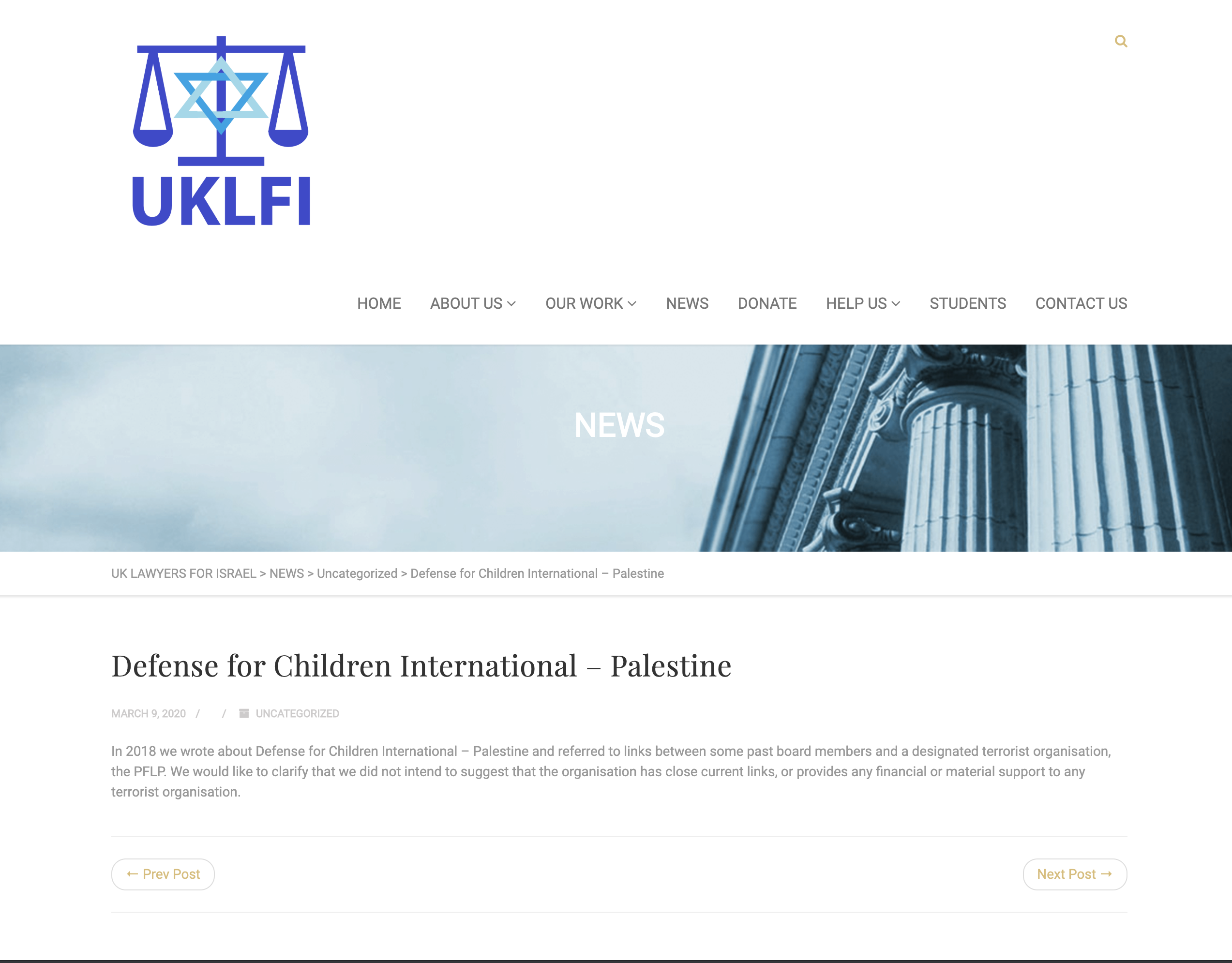 Screenshot depicting UKLFI statement published as part of legal settlement in libel action. (Screenshot: UKLFI.com / DCIP)