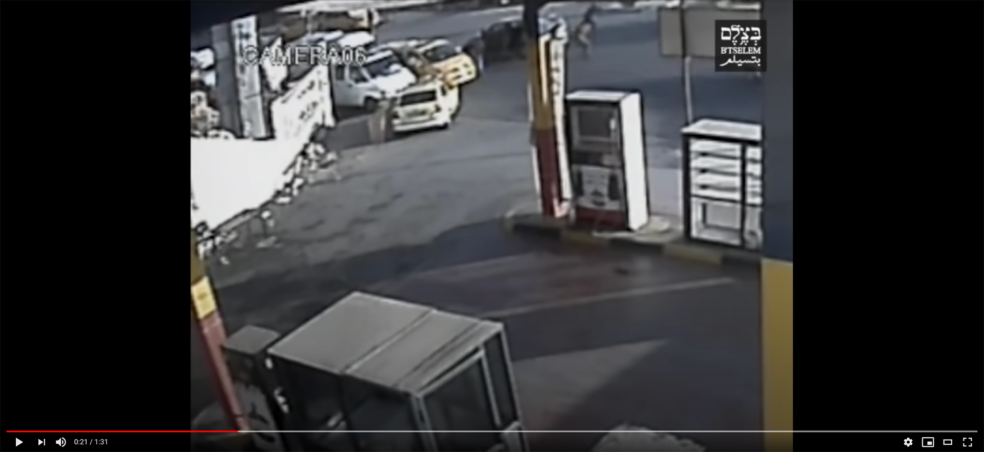 Screenshot of video footage showing Israeli forces exit their vehicle before fatally shooting Mohammad Kasba, 17, while he fled after throwing a stone.