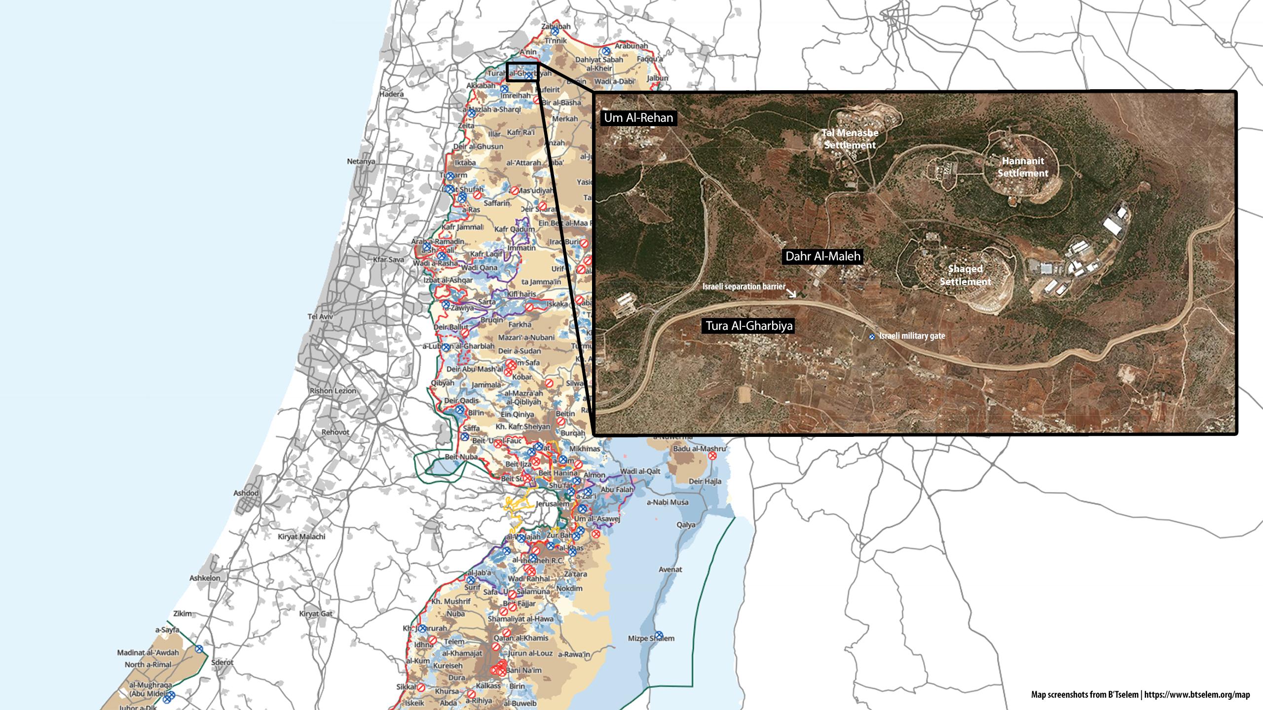 Map depicting location of Dahr Al-Maleh, the Israeli separation barrier, military gate, and Tura Al-Gharbiya village. Screenshots: B'Tselem interactive map