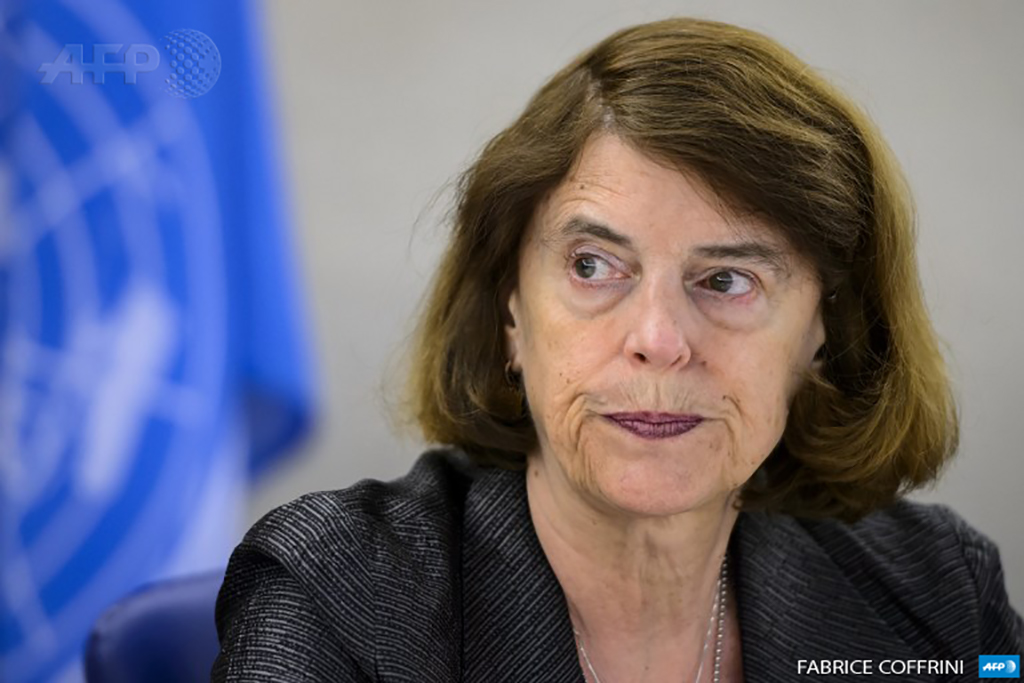 Mary McGowan Davis, chair of the UN Independent Commission of Inquiry on the 2014 Gaza Conflict, looks on prior to addressing a Human Rights Council session in Geneva, Switzerland on March 23, 2015. (Photo: AFP / Fabrice Coffrini)