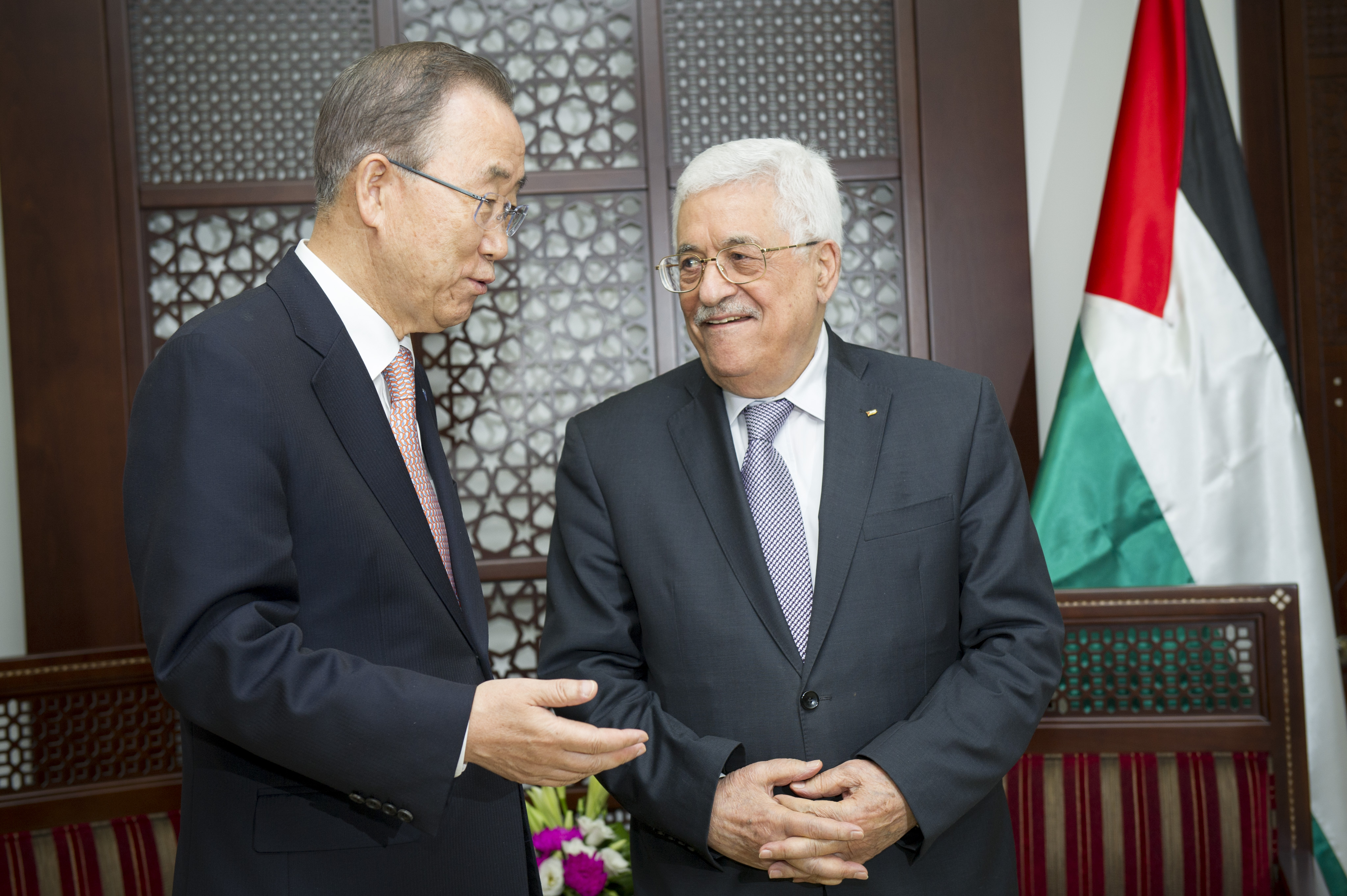 Palestinian President Mahmoud Abbas, meets with U.N. Secretary-General Ban Ki-moon (left) on October 21, 2015 in Ramallah. In 2016, Abbas signed into law a juvenile protection bill that meets modern international standards for safeguarding children's rights, with a focus on alternatives to incarceration. (Photo: Rick Bajornas / UN Photo)