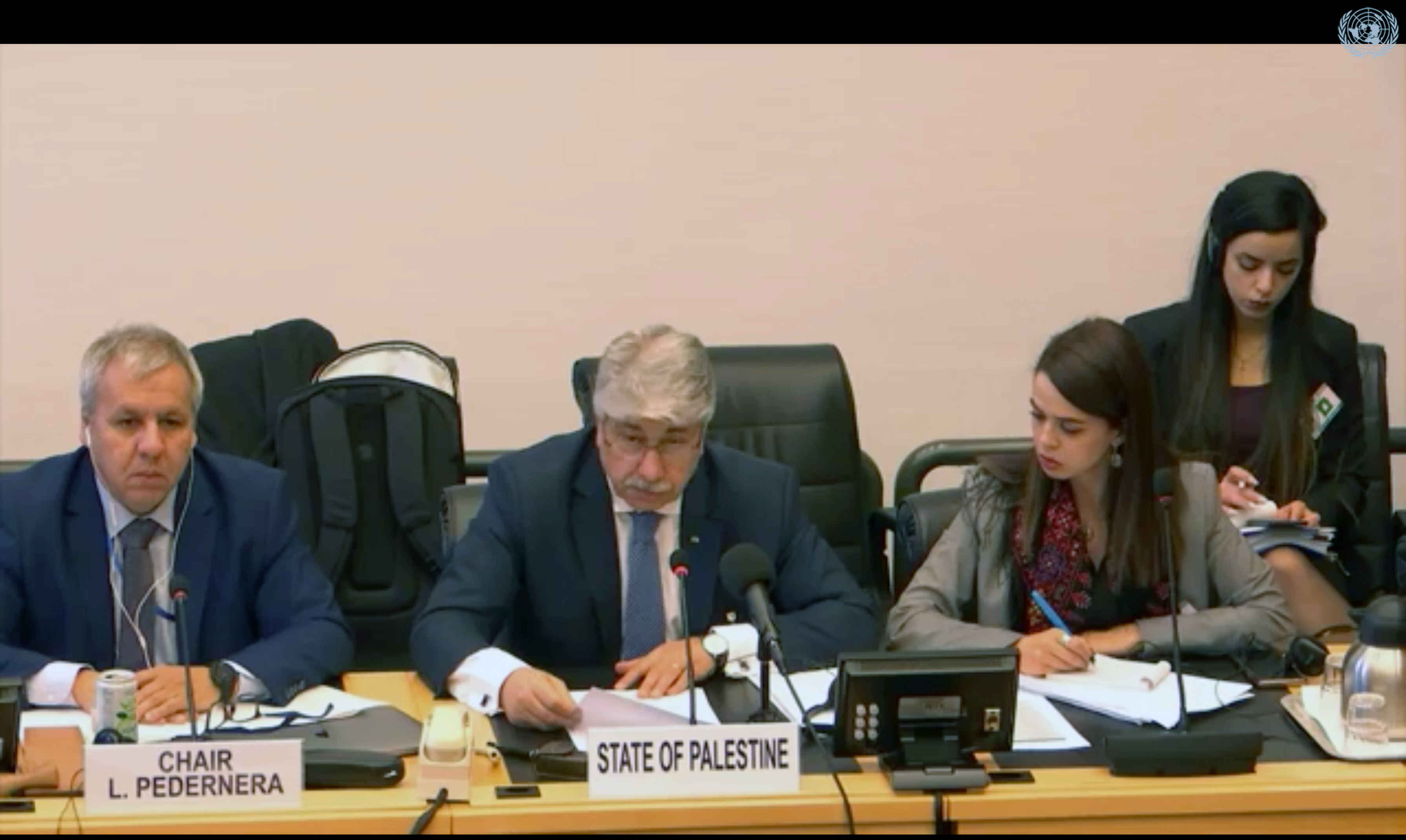 Palestinian Minister of Social Development Ahmed Majdalani participates in initial review of the State of Palestine during the 83rd session of the Committee on the Rights of the Child in Geneva, Switzerland on January 2020. (Screenshot from UN WebTV livestream)