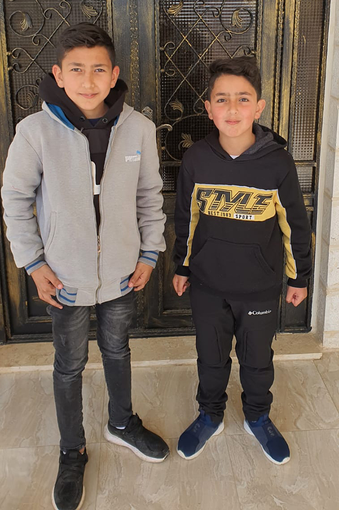 Owais Salahadin, 10, (left) and Mohammad Salahadin, 8, were detained by Israeli forces in the occupied West Bank town of Hizma on February 21, 2021. (Photo courtesy of Salahadin family)