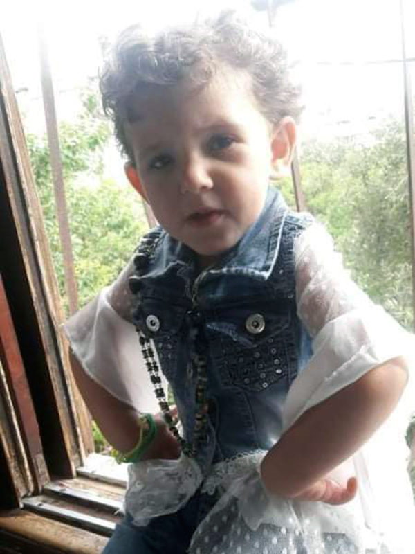Buthaina Mahmoud Issa Obaid, 6, died on May 14 after being struck with shrapnel while playing outside her home in North Gaza around 9:15 p.m. on May 14. (Photo courtesy of the Obaid family)