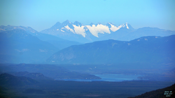 Kitimat Valley, Showing Lakelse Lake.  Terrace is just behind the foreground mountains