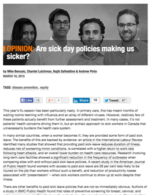 Screenshot of sickdays article