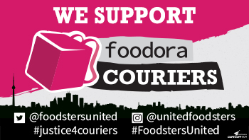 Shareable image with the text We support foodora couriers