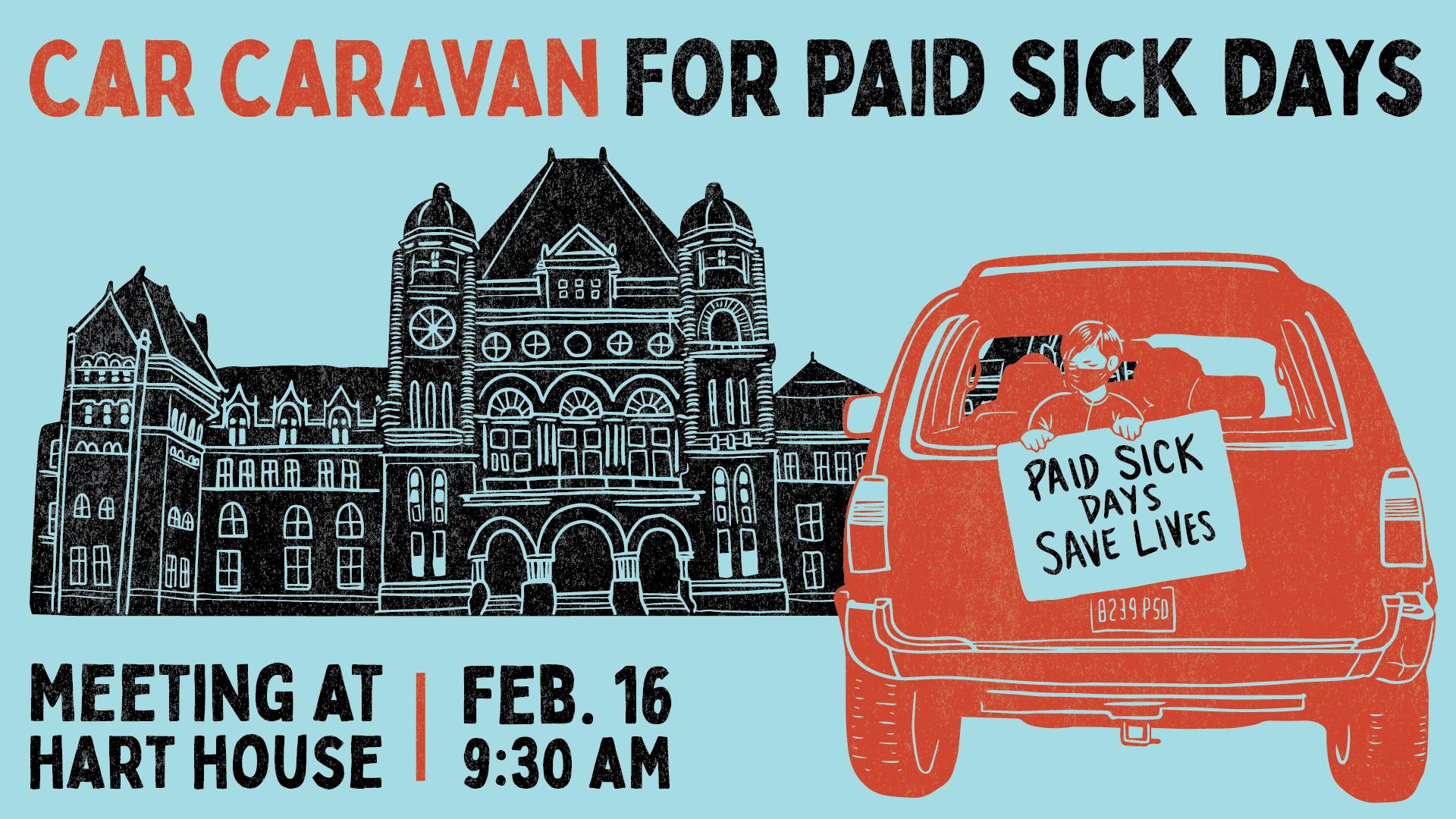Car Caravan for Paid Sick Days on Feb. 16