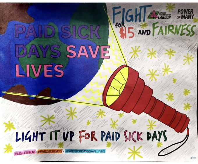 Light it up for paid sick days colouring page