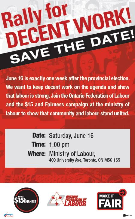 Poster - June 16 Rally for Decent Work
