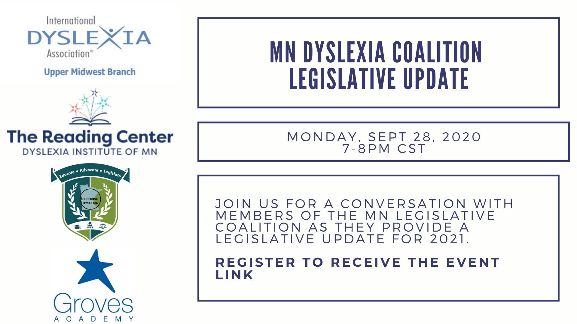 Coalition Event on Sept 28th at 7pm