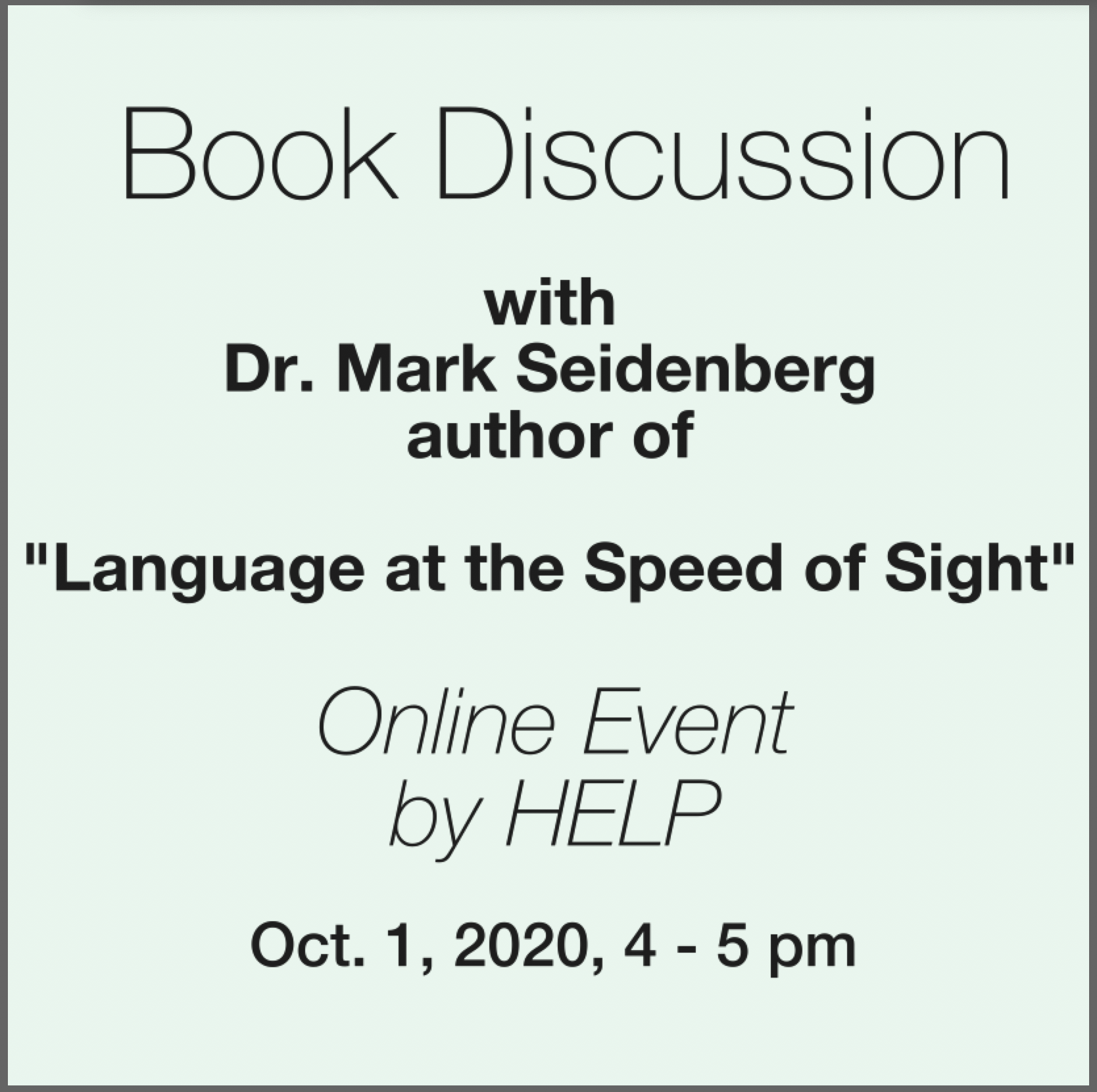 Mark Seidenberg book discussion
