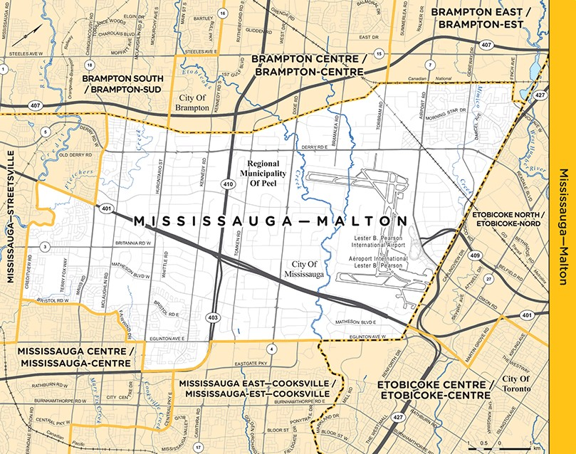 Map of Mississauga Malton