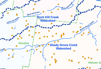 RockHill, Shady Grove Sub Watersheds Landscape with Rainscaping Projects
