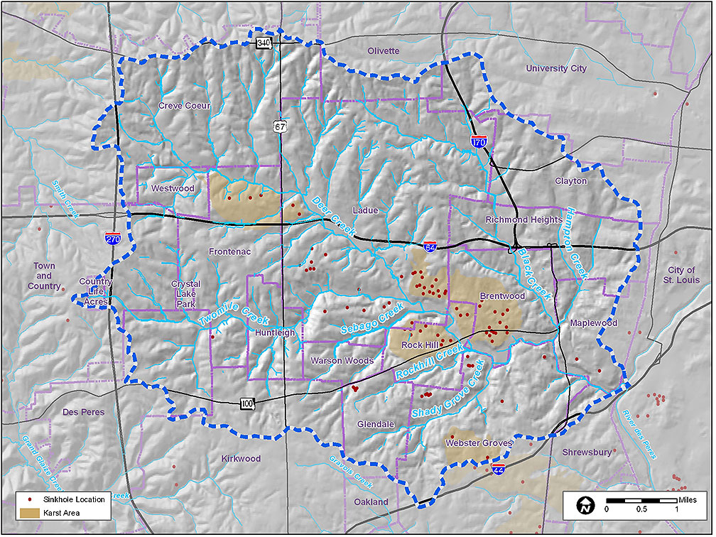 Deer Creek Watershed Karst and Sinkhole map
