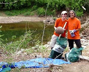 Volunteers help clean up the creek