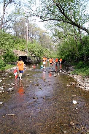 Volunteers picking trash out of the creek