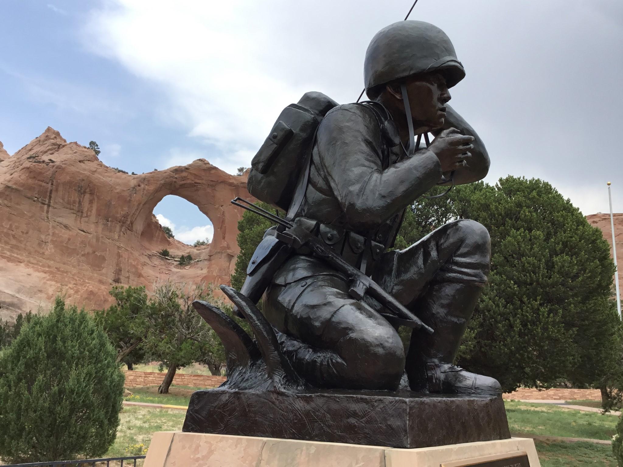 Tribute to Navajo Code Talkers, WWII Window Rock Navajo Tribal Park, Window Rock, AZ, Navajo Nation Capital