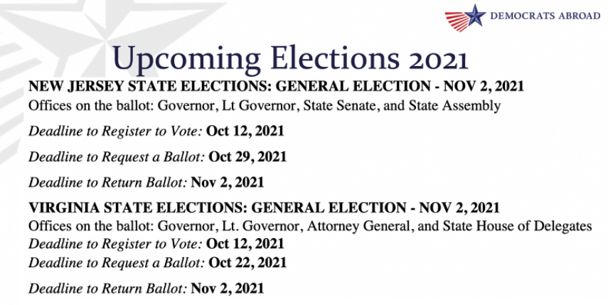 Upcoming Elections Sept 21
