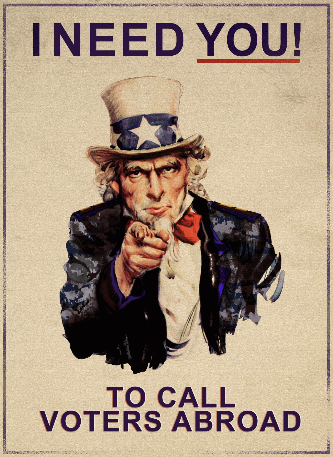 I want you to phonebank to call voters abroad