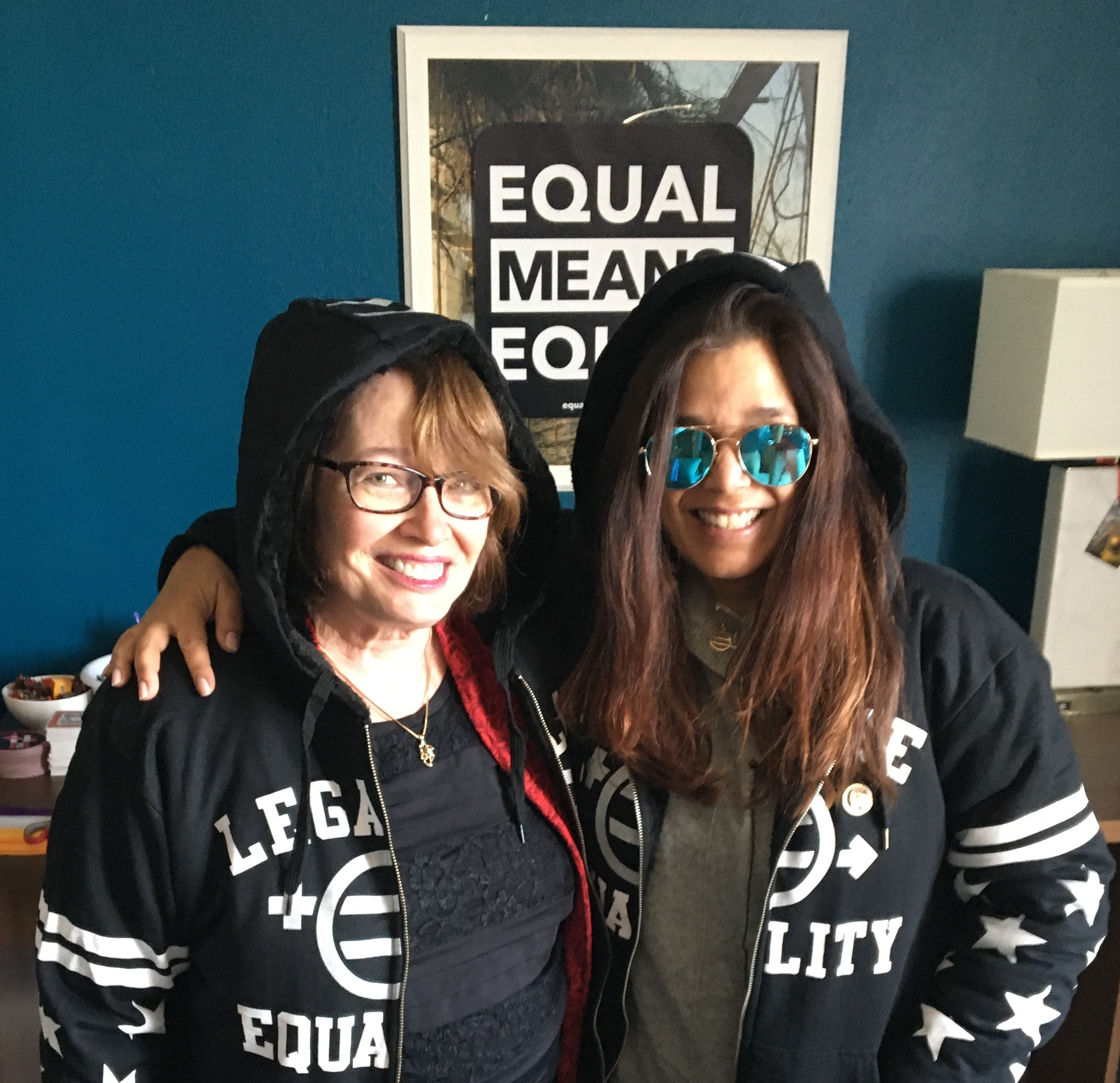 Kamala Lopez and me in our ERA hoodies