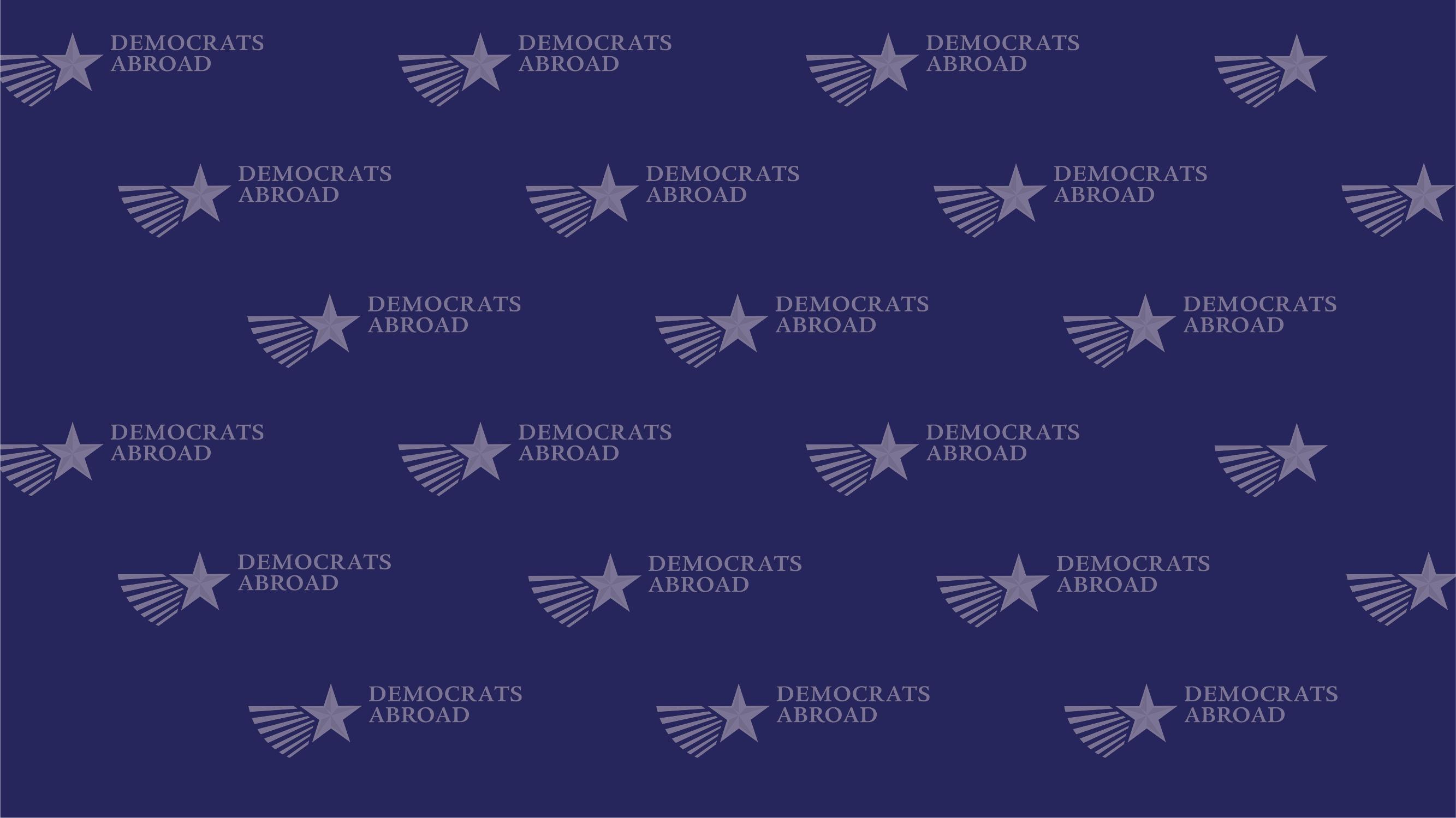 DA logo repeated navy zoom background