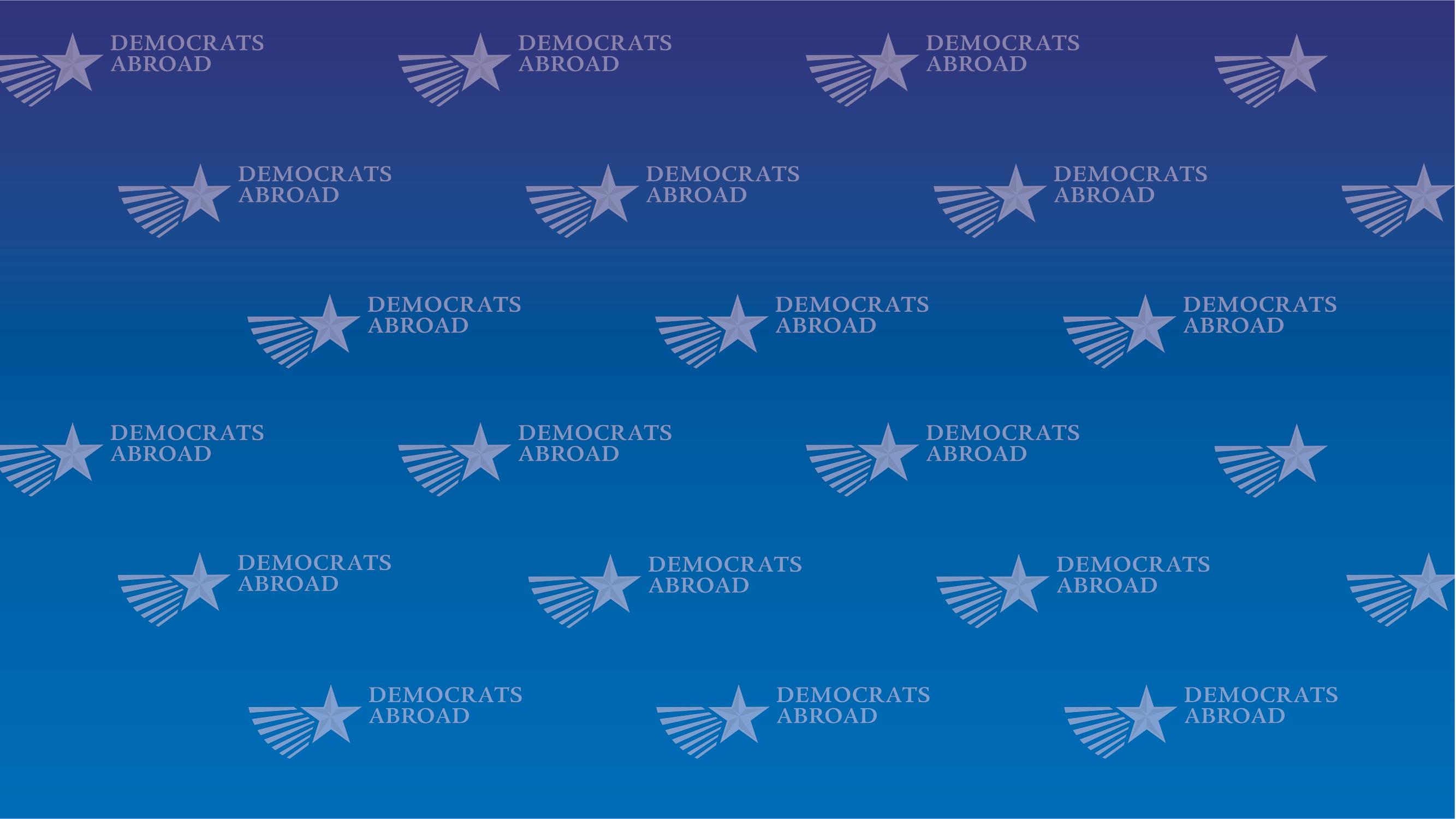 DA repeated logo blue gradient zoom background
