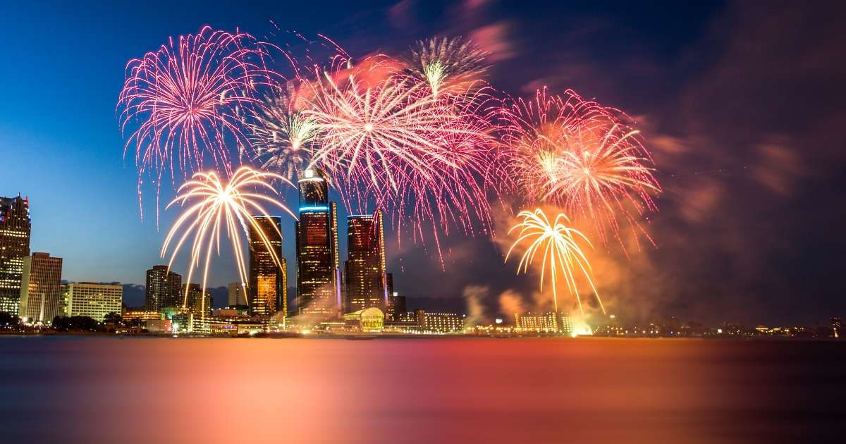 Fireworks over downtown Detroit