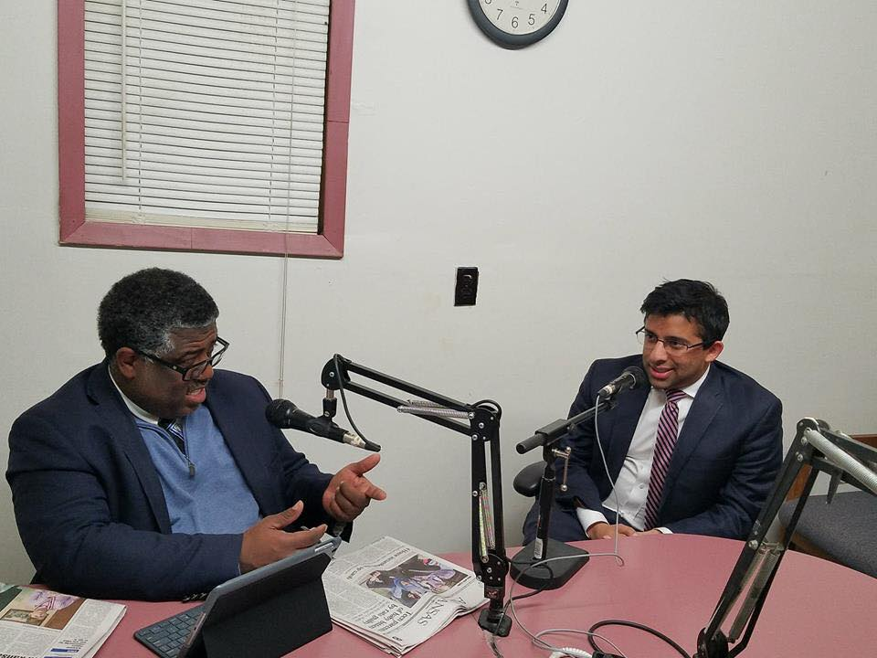 Chintan Desai speaking with James F. Valley on Kjiw-Fm Radio
