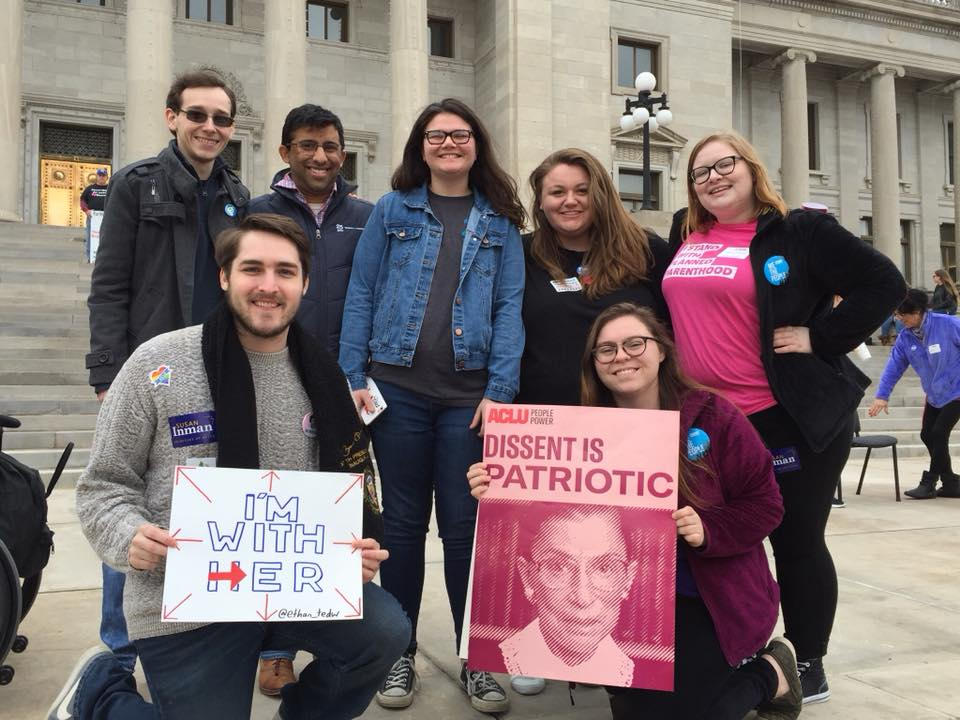 Chintan Desai with members of the Young Democrats of Arkansas at the 8th Annual Rally for Reproductive Justice