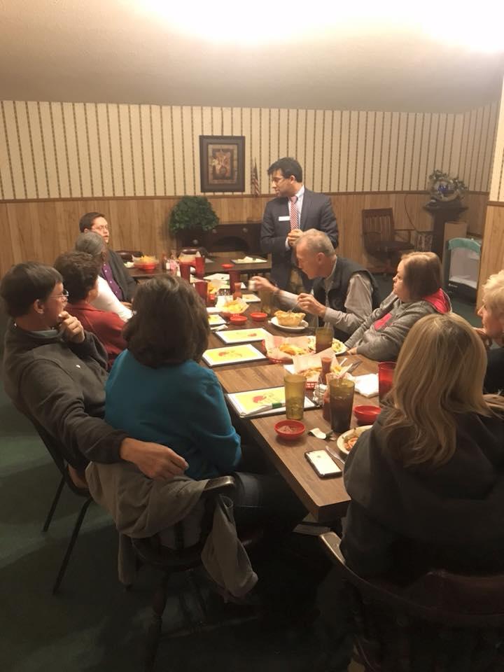 Chintan Desai speaking at the Arkansas County Democratic Party meeting